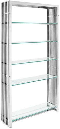 Gridiron Stainless Steel Bookshelf - Spruce Up: Search Steel Bookshelf, Steel Shelving Unit, Modern Shelving, Bookshelves, Glass Bookcase, Stainless Steel Shelving, Stainless Steel Tubing, Glass Shelves Kitchen, Tempered Glass Shelves