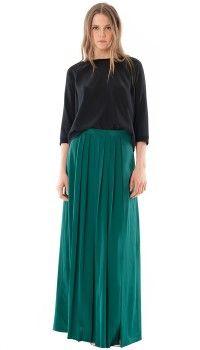 Silk Pleated Maxi Skirt