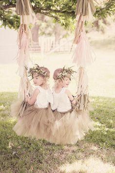 Flower-girls with tulle covered swing Casual Wedding, Chic Wedding, Wedding Bride, Wedding Styles, Dream Wedding, Wedding Attire, Flower Girls, Flower Girl Basket, Flower Girl Dresses