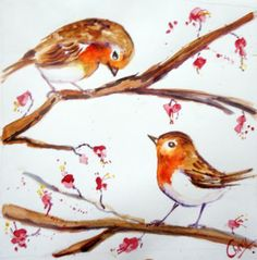 #robins in watercolour#