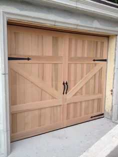 Gabriel Design - x Barn Style Custom Mahogany Wood Garage Door Barn Door Garage, Garage Door Sizes, Wooden Garage Doors, Overhead Garage Door, Garage Door Design, Barn Doors, Swing Out Garage Doors, Garage Door Rollers, Sliding Garage Doors