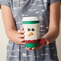 Chill Chaser Cup Cozy - super cute snowman cup cozy you can knit up in an afternoon. Great for teacher and neighbor gifts - you can make 3 cup cozies with one ball of Swish DK yarn. Free pattern at KnitPicks.com