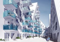 These iceberg shaped apartments in Denmark are so cool! They look like they're actually floating on the water. I love how clean and modern they look from afar. These new seaside abodes were designed by architectural firms JDS, CEBRA, SeARCH, and Louis Paillard.