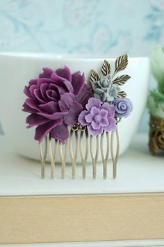 Purple Amethyst, Lavender, Grey Flower, Purple Rose, Brass Leaf, Wedding Hair Comb. Bridesmaids Gift, Purple Rustic Nature. Purple Wedding by Marolsha - https://www.etsy.com/listing/236012477/purple-amethyst-lavender-grey-flower?ref=shop_home_active_5