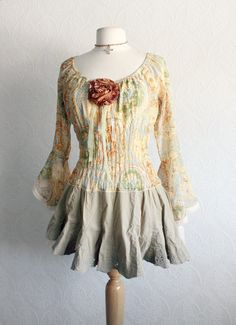 Romantic Top Bohemian Blouse Golden Tan by BrokenGhostClothing, $62.00