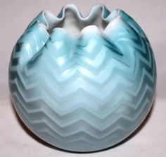 Vintage Mt Washington Rose Bowl Webb Harrington Zig Zag Blue Satin Glass OLD!