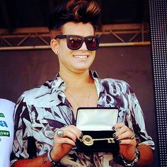 adam lambert receiving the Key to the City at Miami Beach Pride. April 14 2013.