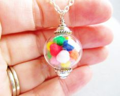 Gumball Filled Glass Orb Nostalgic Hipster Necklace by ViperCoraraDesigns, $20.00