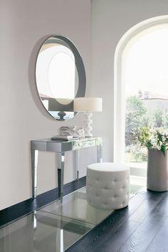 Schminktisch Mit Spiegel Silber Glas Oval