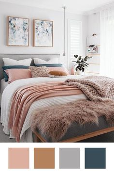 Pink and grey modern bedroom