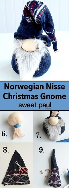 Nisse Gnome Doll This project has three of my favorite components to it: A Norwegian theme, It's no-sew! Just use rubber bands and hot glue!, It's an upcycling project, the main material comes from an old sweater! Christmas Gnome, Christmas Projects, Christmas Holidays, Christmas Decorations, Alter Pullover, Sweet Paul, Navidad Diy, Old Sweater, Diy Hat
