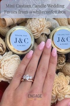 Wearing our Aster Three-Stone Engagement Ring in Rose Gold, and a matching Rose Gold wedding band from Engage Jeweler. #weddingtrend #weddingdecor #weddinggift #weddingfavor #weddingplanning #proposalplanning #engagementring #weddingband #weddingtheme #weddinginspiration #diamond #engagementinspiration #confetti #married Candle Wedding Favors, Wedding Gifts, Wedding Decorations, Gold Wedding, Wedding Band, Engagement Inspiration, Wedding Inspiration, Custom Candles, Three Stone Engagement Rings