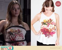 Ali's white floral tank on Pretty Little Liars.  Outfit Details: http://wornontv.net/36662/ #PLL