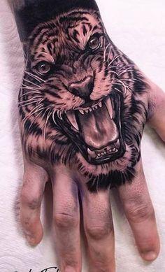 Tiger Hand Tattoo, Dragon Hand Tattoo, Tiger Tattoo Sleeve, Lion Tattoo Sleeves, Sleeve Tattoos, Lion Hand Tattoo Men, Skull Tattoos, Animal Tattoos, Cute Tattoos