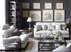 Dark Blue Gray Living Room before + after: a drab texas home gets a dose of l.a. cool | dark