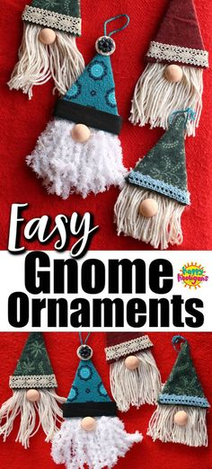 Easy Gnome Ornaments If you're looking for an easy Christmas craft for kids to make this week, this gnome craft is really simple, but SO FREAKING CUTE! Great homemade ornament for tweens, teens and adult to make, even as a last minute Christmas craft. Kids Crafts, Christmas Crafts For Kids To Make, Simple Christmas, Crafts For Teens, Yarn Crafts, Holiday Crafts, Homemade Christmas, Preschool Crafts, Gnome Ornaments