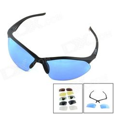 OUMILY Outdoor Cycling Sunglasses Goggles w/ Replaceable Lens Kit - Blue   Black Price: $8.95