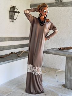 Light Brown Maxi Dress Kaftan with Beige Lace by SynthiaCouture