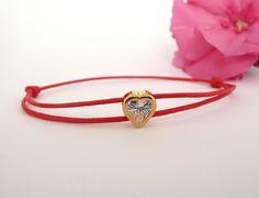 Gold Heart Bracelet, Tiny Heart Cord Bracelet, Cz Bracelet, Cz Heart Bracelet, Macrame Cord Bracelet
