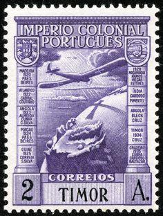 """Timor  1938 Scott C2 2a purple """"Plane over Globe"""" Common Design Type"""