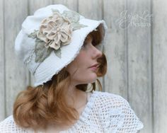 Shabby Chic Cloche Hat by Jaya Lee This beautifully, handcrafted, one-of-a-kind cloche is perfect for summer. It is made from off-white linen