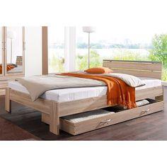 Lit confort très ferme largeur 120 + tête de lit + matelas ressorts + sommier - Décor chêne clair / blanc- Vue 1