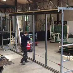 Front Gate Design, Door Gate Design, Glass Garage Door, Sliding Glass Door, House Extension Design, House Design, Aluminium Glass Door, Sunroom Kits, Steel Frame Construction
