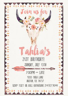 Bohemian Birthday Invitation // 21st Birthday by GreenDoorHandmade