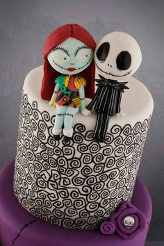 Birthday Cake Black Nightmare Before Christmas Best Ideas - Birthday Cake Blue Ideen Beautiful Cakes, Amazing Cakes, Jack Y Sally, Nightmare Before Christmas Wedding, Christmas Wedding Cakes, Movie Cakes, Cherry Cake, Disney Cakes, Halloween Cakes
