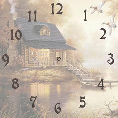 Printable Clock Face Little Cabin Digital Image Vintage Labels, Vintage Ephemera, Coreldraw, Blank Clock Faces, Clock Face Printable, Making Wooden Toys, Little Cabin, Scroll Saw, Handmade Home Decor