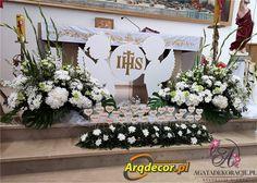 Art Floral, Tola, First Holy Communion, Table Decorations, Impreza, Home Decor, Flower Arrangements, Party, Angel Crafts