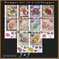 10 x Flowers and paperdoily cardtopper Bumper Kit 3 on Craftsuprint designed by Gertraud Lueckel - 10 x 7 x 7 inch cardtopper Sentiments are: Happy Birthday, Happy Anniversary and one blank