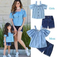 Mom Girl Off-Shoulder Top Jeans Shorts Matching Sets, Mother Daughter Fashion, Mother Daughter Matching Outfits, Mommy And Me Outfits, Matching Family Outfits, Baby Outfits Newborn, Toddler Outfits, Kids Outfits, Baby Boy Fashion Clothes, Kids Fashion