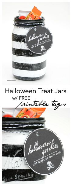 Halloween Treat Jars.  Love the black labels with silver print using the minc