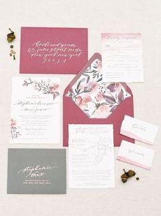 rustic chic wedding invitations/ stylish wedding invitations/ burgundy wedding invitations/ floral wedding invitations