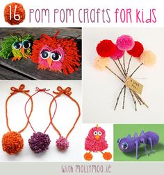 A round up of 16 great pom pom crafts for kids