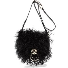 Diane von Furstenberg Love Power shearling and textured-leather... (392 AUD) ❤ liked on Polyvore featuring bags, handbags, shoulder bags, black, crossbody cell phone purse, cross-body handbag, diane von furstenberg purses, diane von furstenberg crossbody and crossbody purses