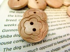 Wooden Buttons - 10 pieces of Shallow Carving Flower Pattern Wooden Buttons. 0.83 inch by Lyanwood, $5.00