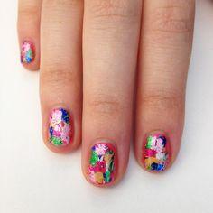 rainbow foil nail art {love this!}