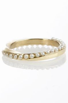 Pearl and gold bangle bracelet.  (but make it a ring) |Pinned from PinTo for iPad|