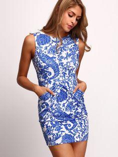 ärmelloses Bodycon Kleid mit Folklore Druck - blau