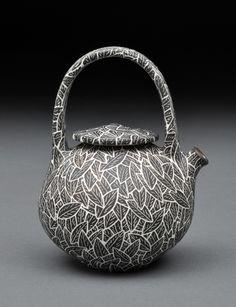 lloyd pottery sgraffito black leaves
