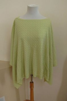 NWT Ann Taylor Poncho One Size Light Green Cable Knit Angora Wool Blend Wrap #AnnTaylor #Poncho