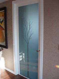 glass door with tree sketch. Approx $500