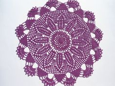 "Crochet doily, purple crochet doilies, violet lace doily, crochet centerpiece, large doily, 15"" by kroshetmania on Etsy"