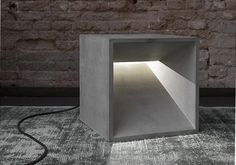light cube, concrete light, concrete goods - D - Dekorative Lampe Concrete Light, Concrete Wood, Concrete Design, Concrete Furniture, Concrete Projects, Light Art, Lamp Light, Light Cube, Luminaria Diy