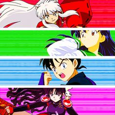 InuYasha, Kagome, Miroku, and Sango. I love how everyone is being all fierce and then Kagome's just being fabulous.