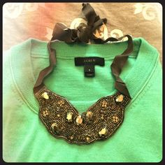 J Crew gray jewel tie necklace NWT Looks great with any scoop neck or around a collared shirt. J. Crew Jewelry Necklaces