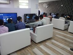 Ps4, Playstation, Gaming Lounge, Gaming Center, Game Cafe, Innovation Lab, Tv Wall Decor, Gaming Station, Video Game Rooms