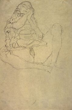 * Gustav Klimt - - - Seated Semi-Nude with Closed Eyes Klimt Art, Gustav Klimt, Art Sketches, Art Drawings, Figure Sketching, Old Art, Woman Painting, Gravure, Portrait Art